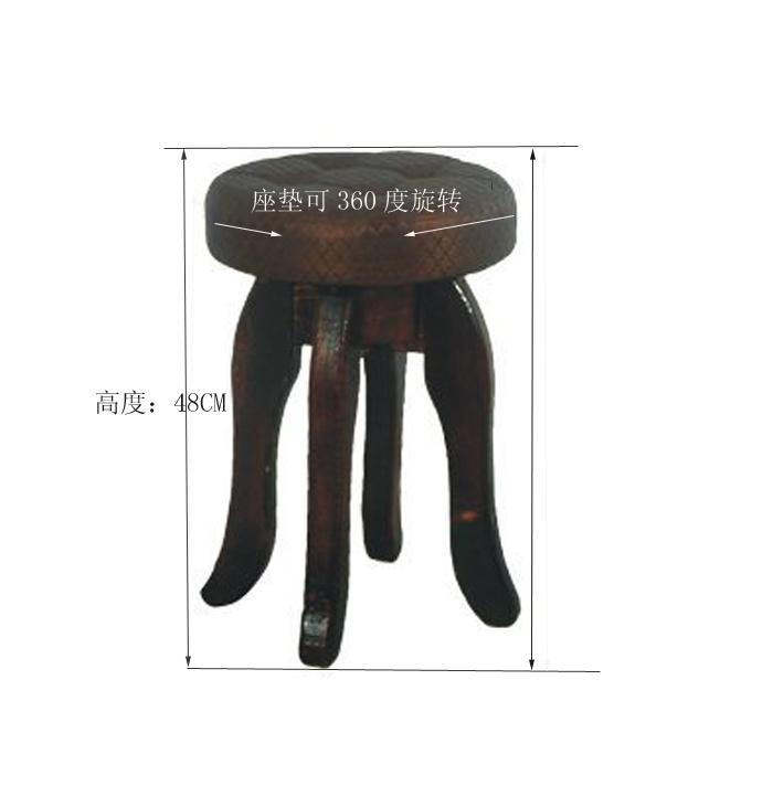 ds-1301技师椅美容椅/圆木凳子加软包/座垫可旋转